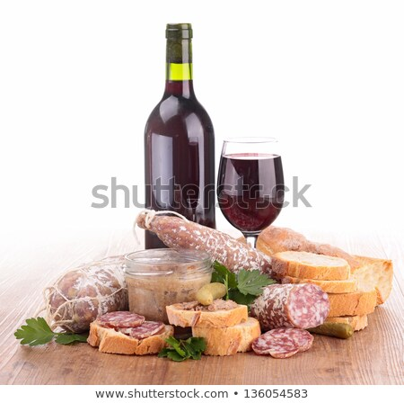 Foto stock: Salsichas · comida · vidro · fundo · jantar · garrafa