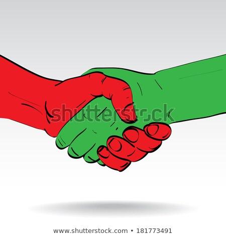 rojo · verde · apretón · de · manos · pintado · mano · aceptación - foto stock © nelosa
