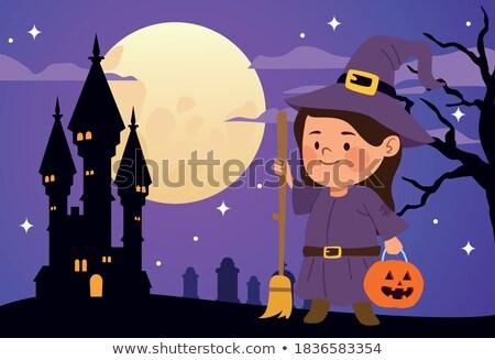 ストックフォト: 幸せ · ハロウィン · 魔女 · 少女 · 子