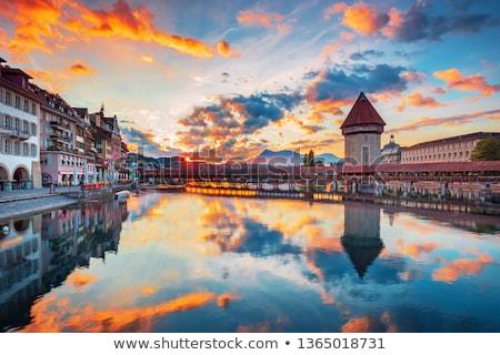 Ville centre Suisse historique pittoresque banques Photo stock © tboyajiev