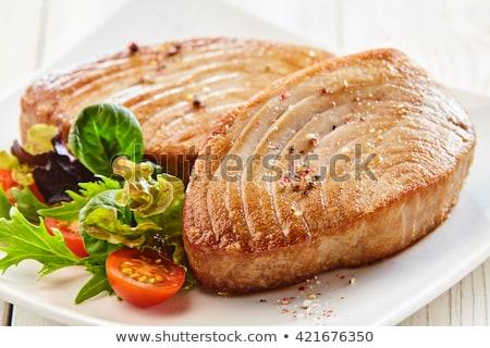 Twee tonijn zilver dienblad bbq brand Stockfoto © raphotos