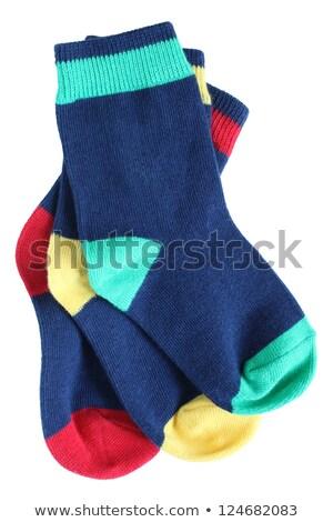 Stockfoto: Drie · baby · sokken · witte · Blauw · brief