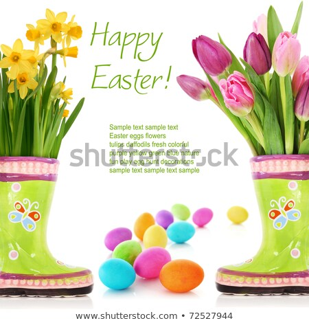 Fresh spring flowers and dyed easter egg Stock photo © lightkeeper