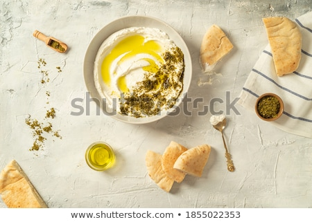 baguette · pan · crema · queso · atención · selectiva · decorado - foto stock © badmanproduction