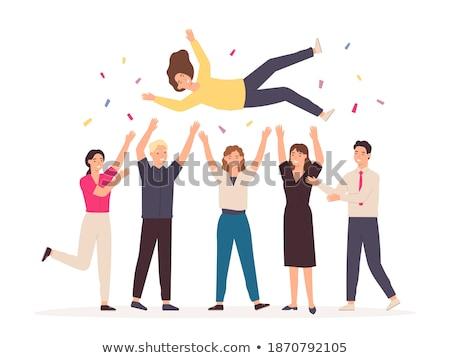 Barátok ünnepel győzelem kezek levegő boldog Stock fotó © feedough