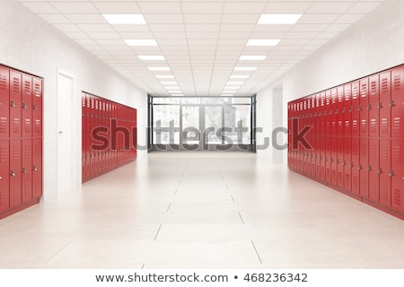 Row of red steel lockers Stock photo © Witthaya