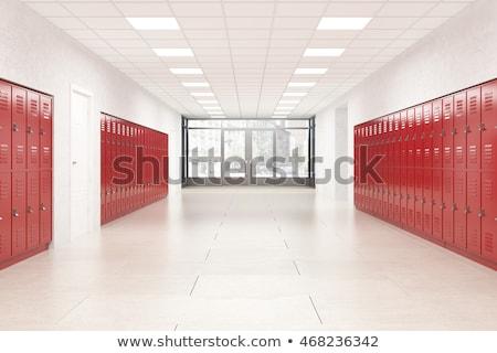 row of red steel lockers stock photo © witthaya