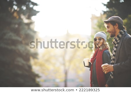 Stock fotó: Happy Young Couple In The Autumn