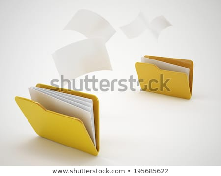 Yellow computer folder with mail on white background. Isolated 3 stock photo © ISerg