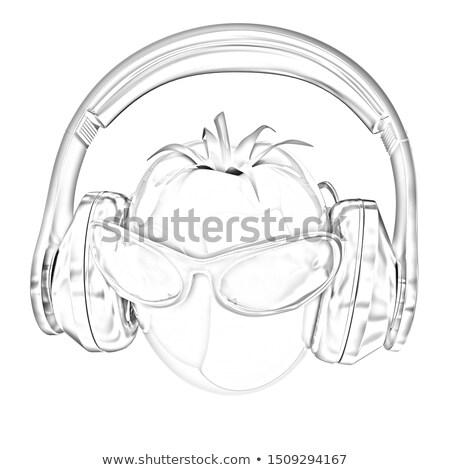 トマト 太陽 ガラス ヘッドホン フロント 顔 ストックフォト © Guru3D