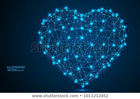 Blauw veelhoek hart witte saffier aquamarijn Stockfoto © dvarg