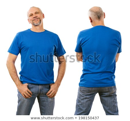Man veertigste Blauw shirt foto Stockfoto © sumners