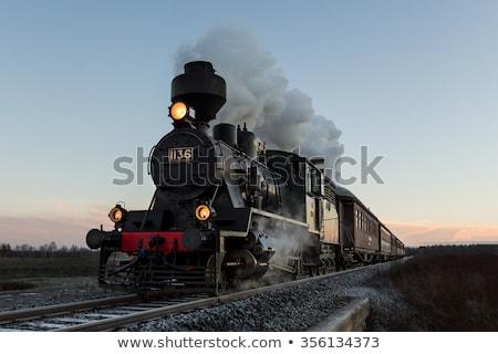Vintage vapor tren tecnología rojo rueda Foto stock © sibrikov