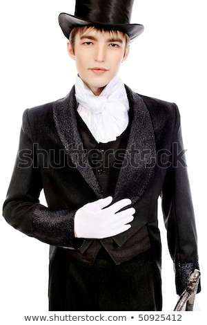 Black top hat with silk white gloves  Stock photo © Elisanth