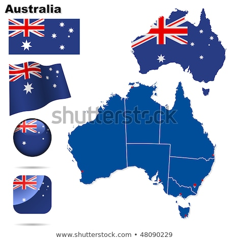 illustration of map on flag button of commonwealth of australia stock photo © istanbul2009