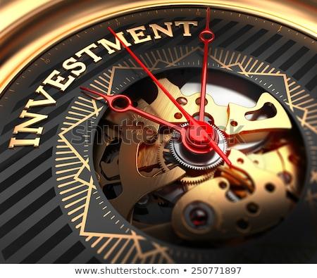 investment on black golden watch face stock photo © tashatuvango