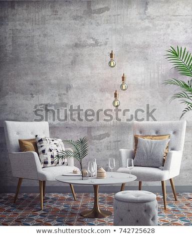 3d render moderne interieur woonkamer restaurant ontwerp Stockfoto © wxin