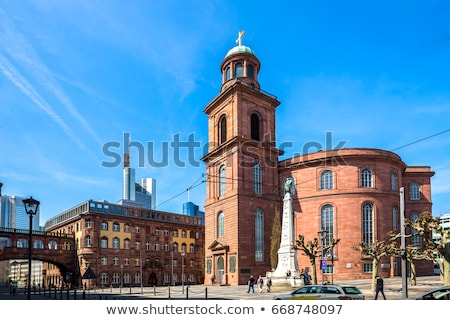 известный Церкви Франкфурт Германия Blue Sky небе Сток-фото © meinzahn