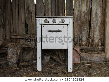 Stock photo: Old white metal oven