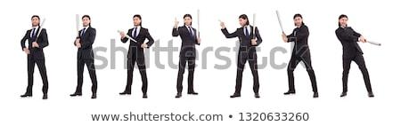 agresivo · hombre · bate · de · béisbol · aislado · blanco · cara - foto stock © elnur