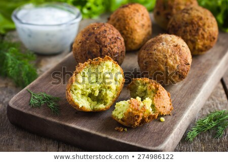 fresh vegetarian falafel with sauce selective focus stock photo © master1305