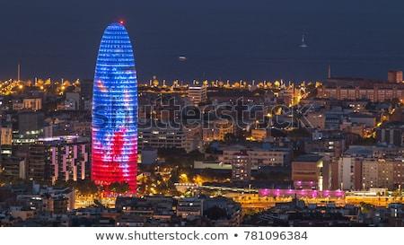 порта здании Барселона колонки административный Blue Sky Сток-фото © zhekos