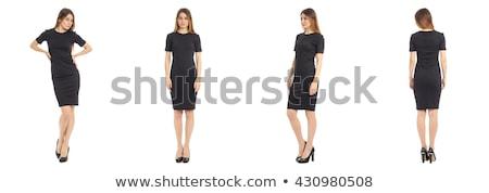 Stockfoto: Mooi · meisje · zwarte · kort · jurk · geïsoleerd · witte