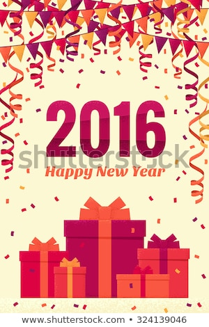 2016 new year flags christmas garland and confetti stock photo © orensila