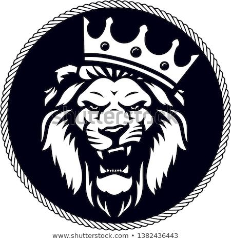 黒 · ライオン · クラウン · 紋章学 · 入れ墨 · デザイン - ストックフォト © Genestro