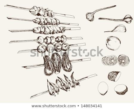 Kebab aardappel aubergine voedsel Stockfoto © Digifoodstock