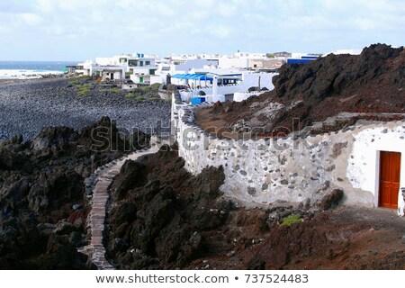black beach at village of el Golfo with old volcano Stock photo © meinzahn