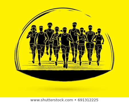 Férfi maraton atléta gól illusztráció futó Stock fotó © lenm