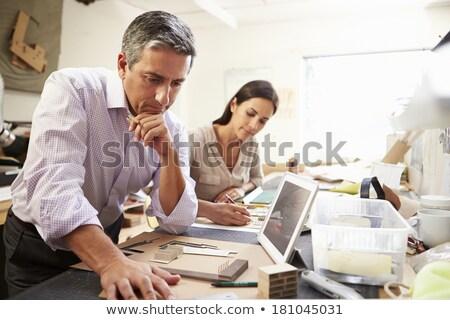два человека рабочих зданий иллюстрация человека фон Сток-фото © bluering