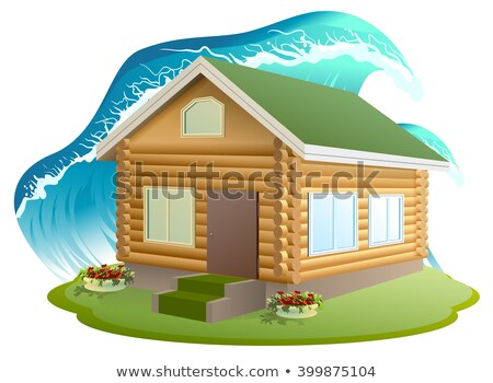Tulajdon biztosítás fából készült ház víz áradás Stock fotó © orensila