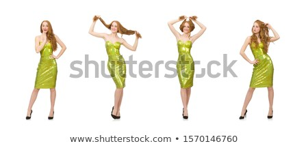 Red hair girl in sparkling green dress isolated on white Stock photo © Elnur