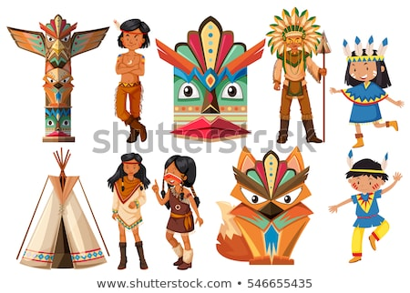 Native american indians and traditional craft set Stock photo © bluering