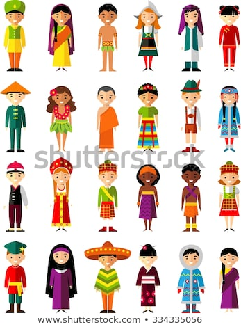 Stock photo: Asian family happy faces flat avatars set
