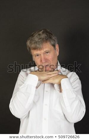 Homme mûr blanche affaires shirt regarder puéril Photo stock © meinzahn