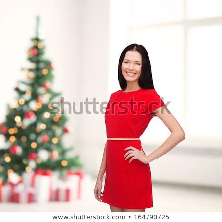gelukkig · vrouw · hoed · geschenk · vakantie - stockfoto © dash