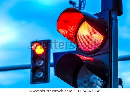 Kırmızı trafik ışığı bulutlar yeşil kentsel pencereler Stok fotoğraf © almir1968