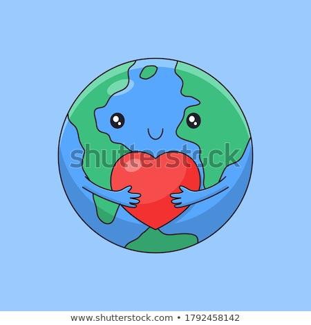 世界 愛 赤 中心 周りに 地球 ストックフォト © almir1968