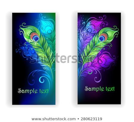 Iki afişler parlak mavi yeşil Stok fotoğraf © blackmoon979