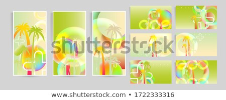 web banners set made with abstract colorful rhombus shapes Stock photo © SArts