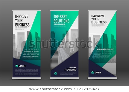 Stock photo: roll up banner presentation template with colorful abstract shap