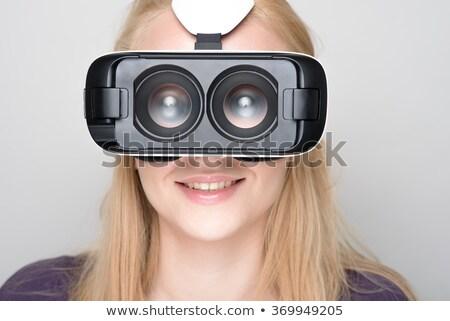Bayan sanal gerçeklik Stok fotoğraf © deandrobot