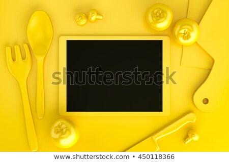 Táblagép gyűjtemény konyhai felszerelés asztal felső kilátás Stock fotó © Kirill_M