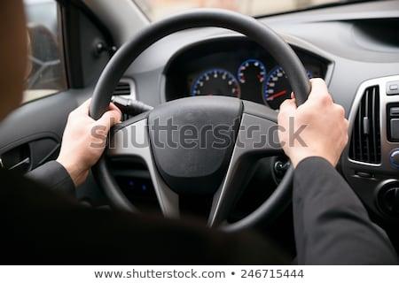 Jonge mannelijke bestuurder stuur achteraanzicht Stockfoto © deandrobot
