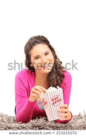 垂直 画像 女性 食べ ポップコーン ストックフォト © deandrobot