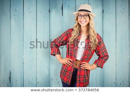 portré · gyönyörű · nő · hullámos · haj · piros · ajkak · gyönyörű · fiatal · nő - stock fotó © deandrobot