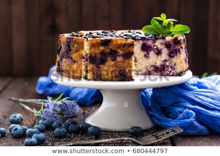 Blueberry cake with fresh berries and whipped cream, cheesecake Stock photo © yelenayemchuk